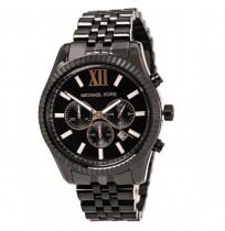 3398cd1d58ad Michael Kors MK 8467 Men s Lexington Black Dial Black IP Steel Bracelet Chronograph  watch