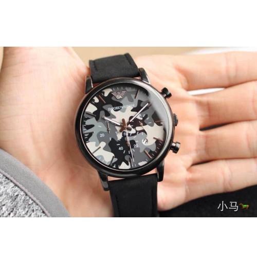 1466b93da5b Emporio Armani AR1816 Classic Gunmetal Camouflage Dial Men Nubuck Leather  Watch