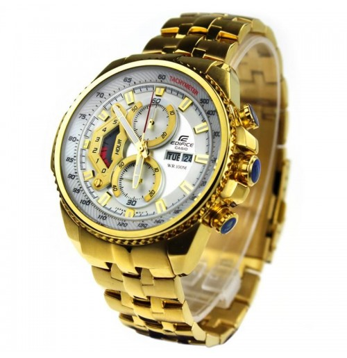 Casio Edifice 558 White Dial Ang Gold Chain Watch For Men bcbc40e74f5b