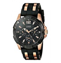 GUESS W0366G3, Men's Masculine Rose Gold-Tone and Black latest WATCH.chronograph