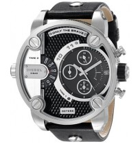 Diesel Little Daddy Black and Grey Dial Black Leather Mens Watch DZ7256