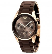 Emporio Armani AR 5891 Brown Chronograph Wrist Watch For Women 2 Years Warranty
