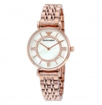Emporio Armani Ladies Rose Gold Plated Link Bracelet Dress Watch AR1909
