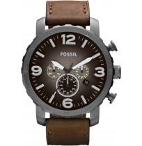 FOSSIL Nate Chronograph Grey Dial Brown Leather Men's Watch  JR1424