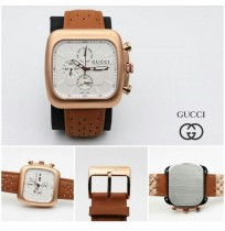 Imported Gucci White dial Brown Strap Watch for Men