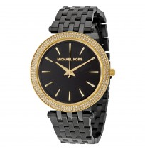 Michael Kors MK3322, Sleek Design, Full black Studded Bezel Watch for Women