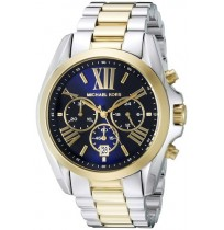 Michael Kors Bradshaw MK5976,Two Tone Rare Blue Dial Chronograph Watch Unisex