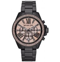 Michael Kors Black Wren Chronograph Watch with Rose Gold Glitz Dial MK 5879 (Imported)