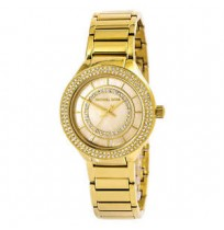 Michael Kors MK3801 Mini Kerry Crystal Gold-tone Mother of Pearl Watch