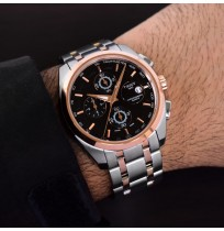 Imported Tissot Couturier Black Dial Silver And Rosegold Chain Watch For Men