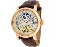 Patek Philippe Skeleton Automatic Leather Strap Analog Watch For Men
