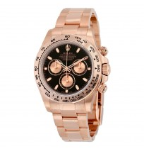 Imported ROLEX Cosmograph Daytona Black Dial 18K Everose Gold Oyster Automatic Men's Watch