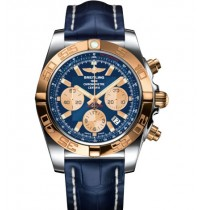 Breitling Cronomat 44 blue rosegold dial with blue leather strap watch for men