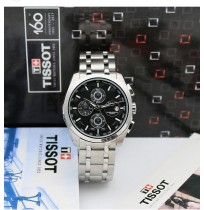 Imported Tissot Couturier Black Dial Silver Chain Watch For Men