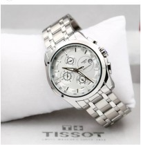 Imported Tissot Couturier White dial silver chain Chronograph Men's Watch