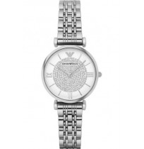Imported Emporio Armani White Crystal Dial Stainless Steel Watch For Women-AR1925