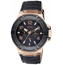 Guess black leather strap chronograph W0040G5 mens watch.NEW.BLACK DIAL