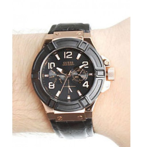 5004a0fe2eb Guess black leather strap chronograph W0040G5 mens watch.NEW.BLACK DIAL
