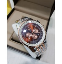 Imported Breitling Navitimer World Brown Dial Two Tone Chronograph Watch for Men