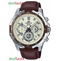 CASIO EDIFICE EFR-554L-7AVUDF ROUND BROWN LEATHER GENTS WRIST WATCH (IMPORTED)