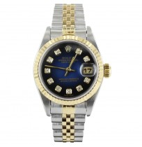 ROLEX LADIES ROLEX DATEJUST WITH DEEP BLUE DIAL (IMPORTED)