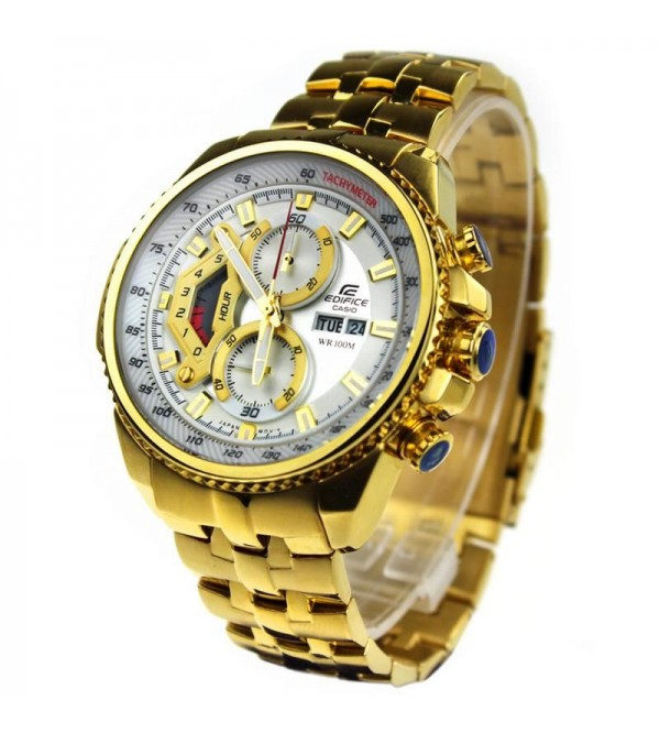 Casio Edifice 558 White Dial Ang Gold Chain Watch For Men