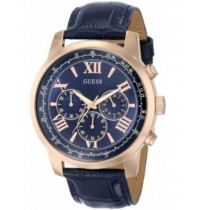 Imported GUESS mens dress W0380G5 chronograph watch BLUE colour.leather strap