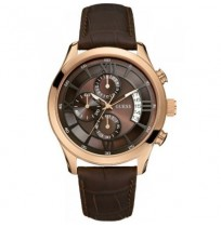 Guess W14052G2 Men's Wrist Watch in Brown Dial Leather Strap Watch