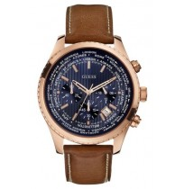 Imported Guess Pursuit W0500G1 Round Blue Dial Leather Strap Chronograph Watch