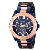 GUESS Women's W0231L6 Iconic Blue Multi-Function Blue and Rose Gold.sale 2017