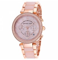 Michael Kors Ladies Parker Rose Gold Blush Chronograph Designer Watch Mk5896